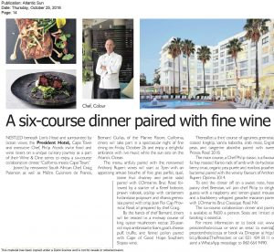 Wine and Dine President Hotel Press Release