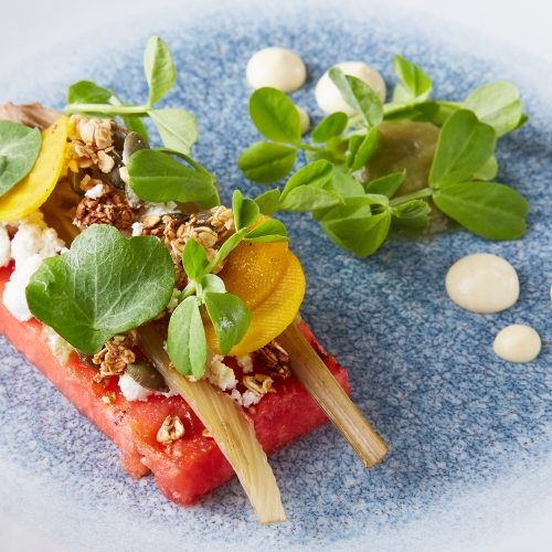 Grilled watermelon – braised fennel – fennel puree – ricotta – pumpkin seed granola89