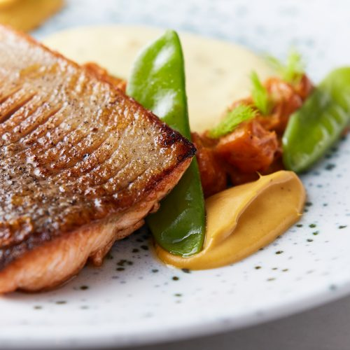 Rainbow trout – curried sweet potato – mangetout – burre blanc110