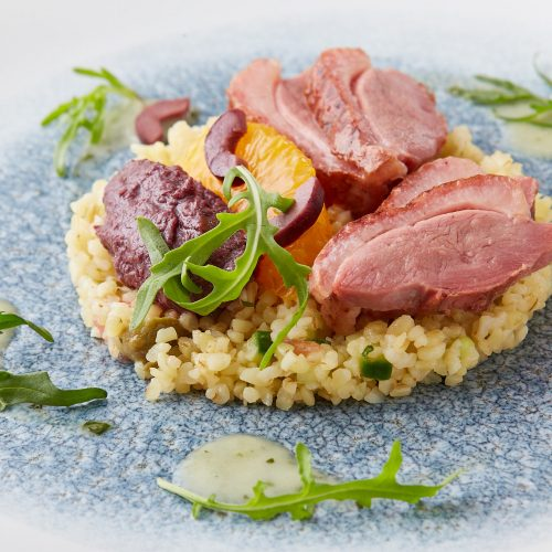 Smoked duck Bulgur wheat Olive tapenade Orange 7